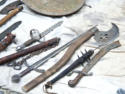 Medieval weapons include the axe, sword and mace