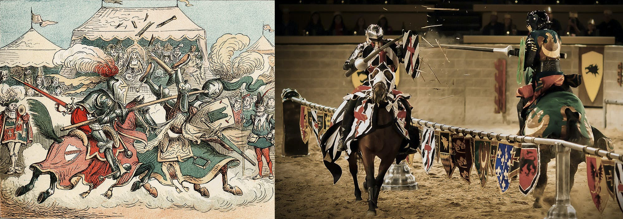 On the left, there is an illustration from Medieval times of Knights in the arena. On the right, there is a photograph from a Medieval Times Live Show, showing the accuracy of Medieval Times Shows, and actual events.