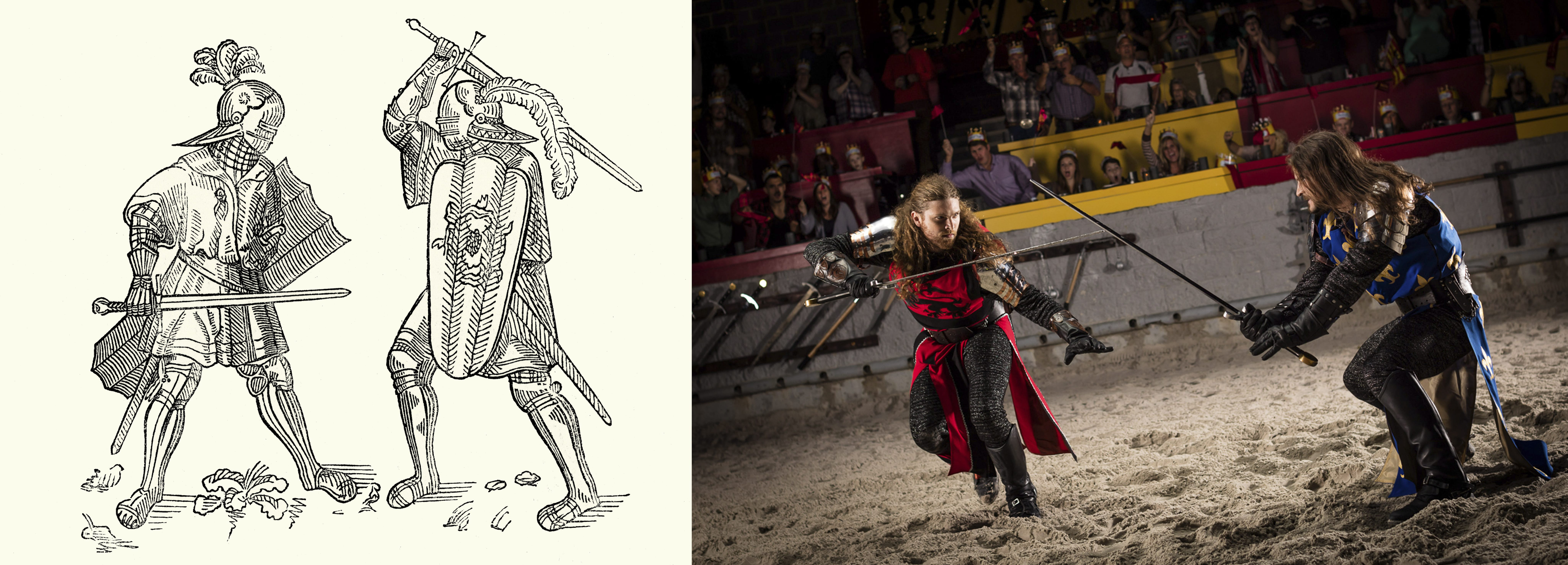 The left side is a black and white illustration of two knights battling from the Medieval Era. The right side is a depiction of that image during a live Medieval Times show.