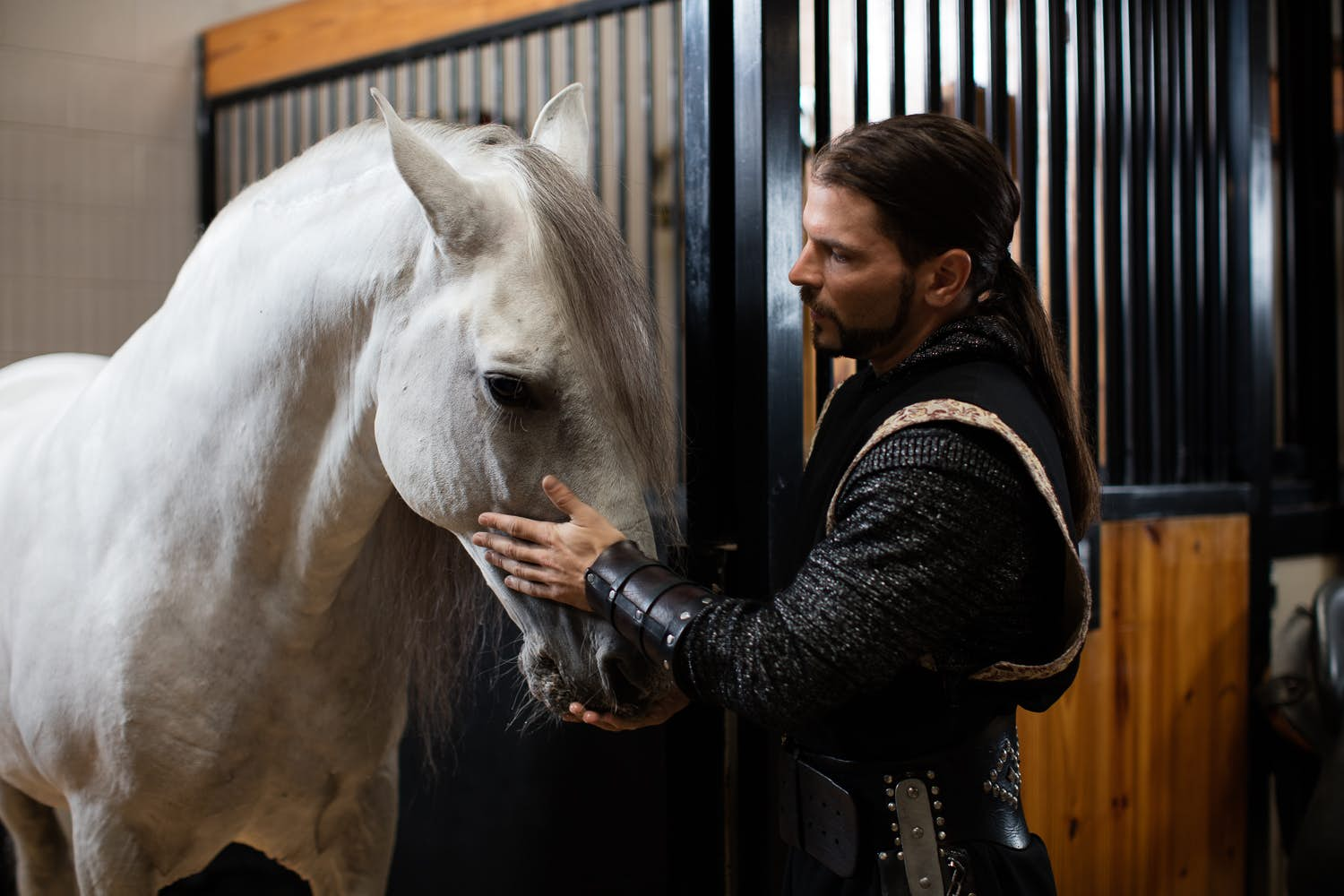 The Black Knight petting the head of his beautiful, all-white horse.
