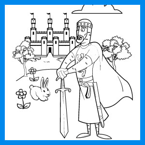 knight and castle coloring page