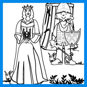queen and knight coloring page